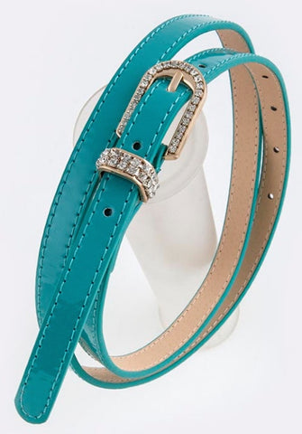 Teal belt with rhinestone buckle