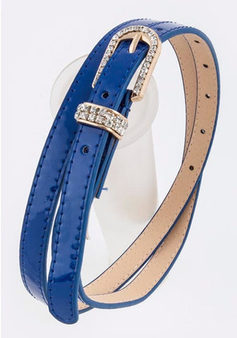 Royal blue belt with rhinestone buckle