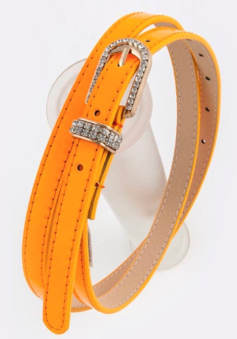 Neon Orange Rhinestone encrusted belt