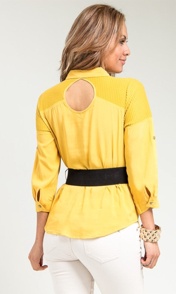 Mustard Peep Back Shirt