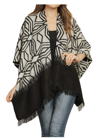 Diamond Print Fringed Wrap