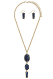 Sapphire Blue Tiered Stone Crystal Pendant Necklace and Earrings