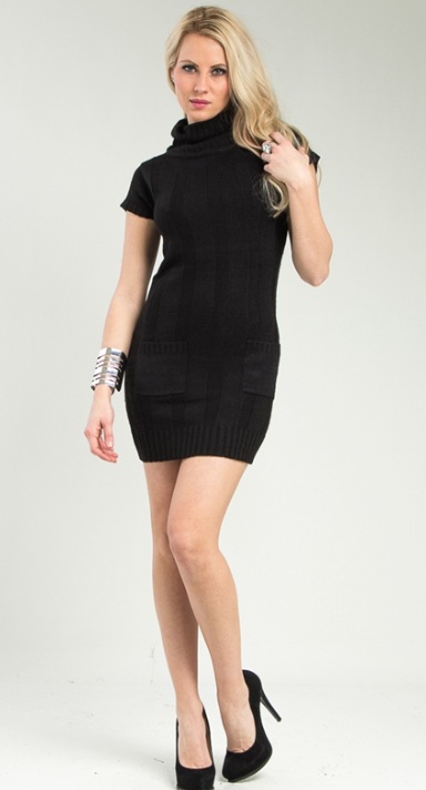 black bodycon sweater dress