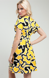 Yellow and Black Smocked Dress