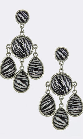 Black and White Strip Chandelier Earrings