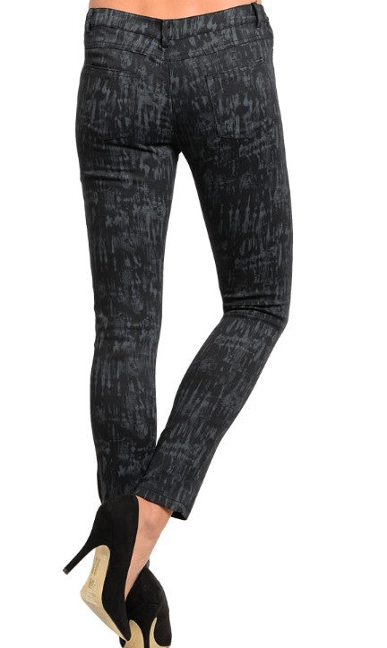 Women's Black and Gray Skinny Pants