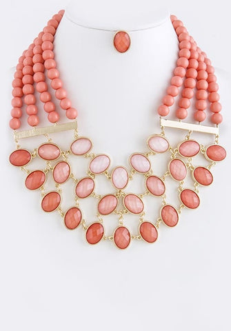 Coral Ombre Bib Necklace
