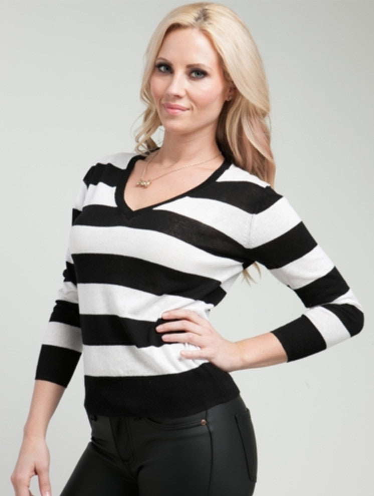 Black and White Striped Sweater - FINAL SALE