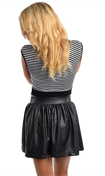 Black & White Striped Crop Top