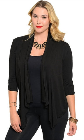 Plus Size Black Waterfall Collar Cardigan