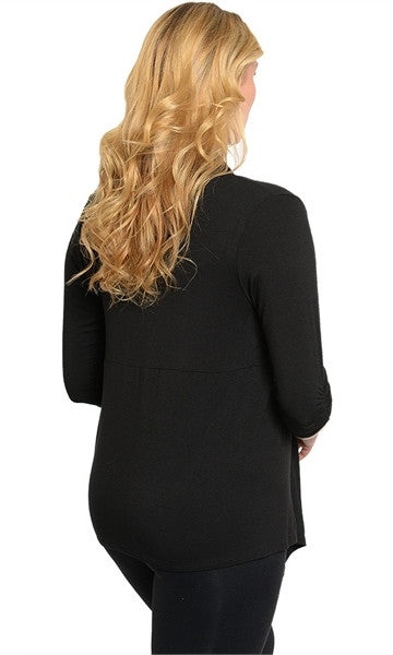 Plus Size Black Waterfall Collar Cardigan - Final Sale