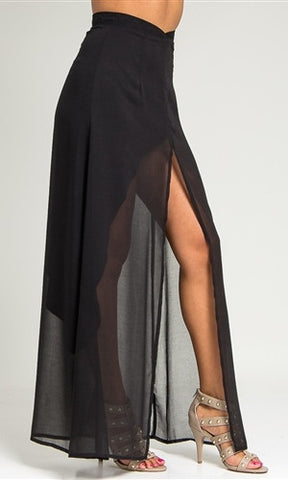 Black Chiffon Draped Asymmetrical Skirt - FINAL SALE