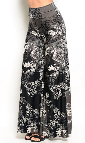 black and white abstract palazzo pants