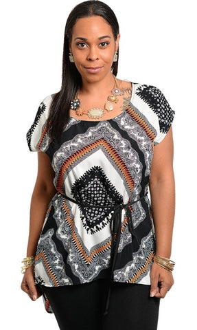 plus size high-low black , white, brown shirt