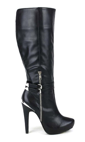 Black stiletto boots with silver accent buckle