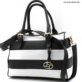 black and white striped handbag