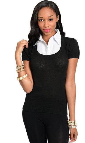 Black and White Collar Shirt