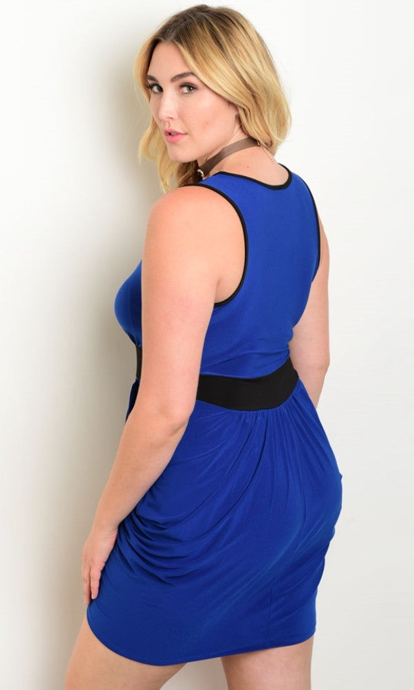 Plus Size Blue and Black Dress