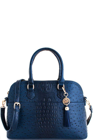 ocean blue croc textured satchel with matching wallet