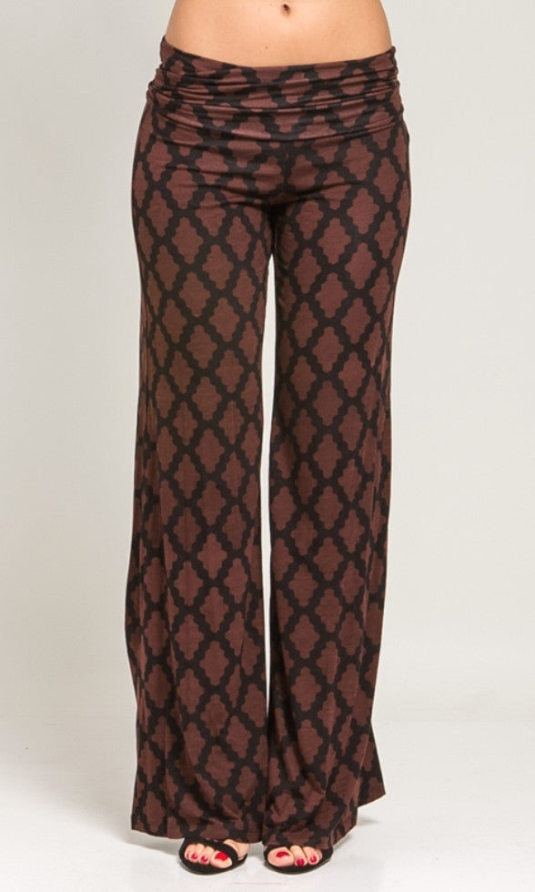 Black and brown pattern palazzo pants