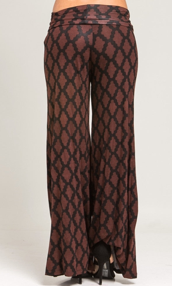 Brown and black wide leg palazzo pants