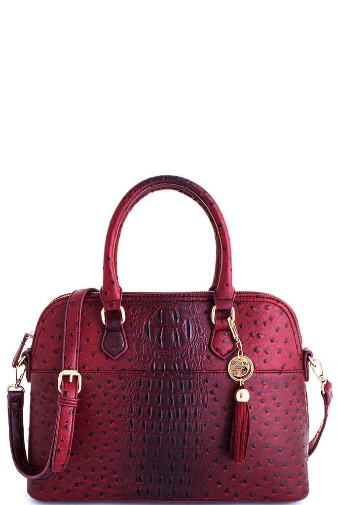 burgundy satchel with matching wallet