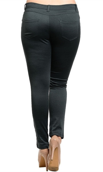 Charcoal Plus Size Skinny Pants-FINAL SALE