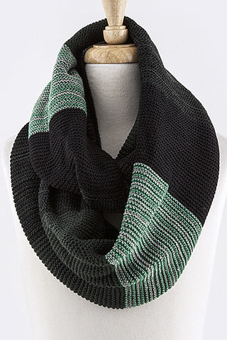 Green and Black Colorblock Knit Infinity Scarf