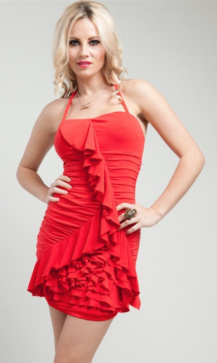 Coral Ruffled Sweetheart Dress