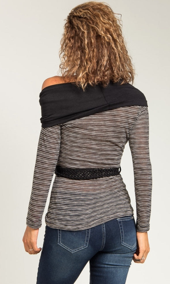 Semi sheer black cowl neck shirt