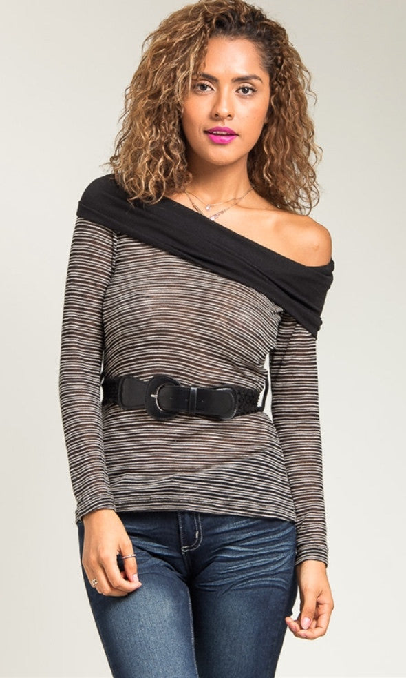 Rihanna inspired Semi sheer rayon cowl neck shirt