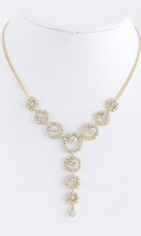 Faux crystal linked necklace
