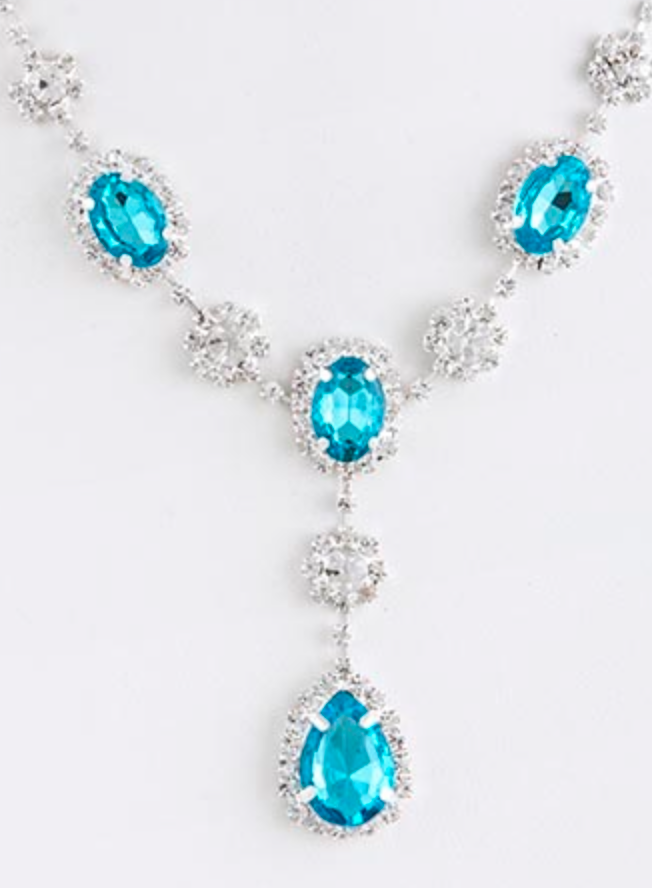gem necklace and earrings set