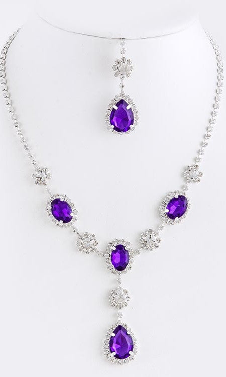 purple gem necklace set