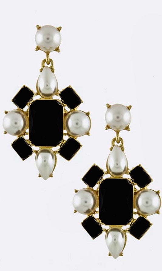 Pearl and Stone Ornate Earrings