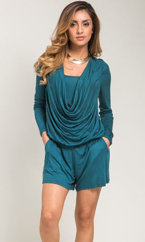 Draped front teal romper
