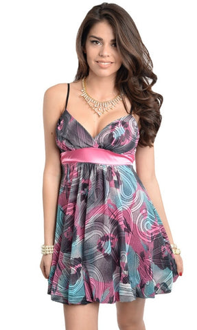 Empire Waist Pink Abstract Dress - Final Sale