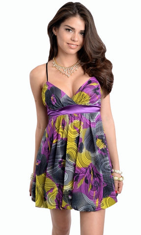 Empire Cut Purple Abstract Dress - Final Sale