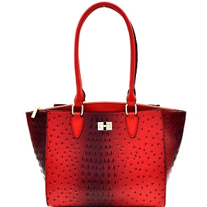 Red Ostrich Embossed Tote Bag