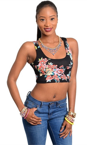 Floral Design Black Crop Top - FINAL SALE