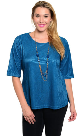blue overlay plus size shirt