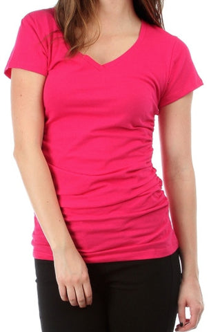 Fuchsia V-Neck Tee - FINAL SALE
