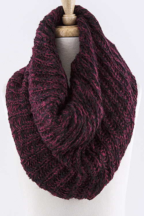 Two Tone Wine Infinity Scarf