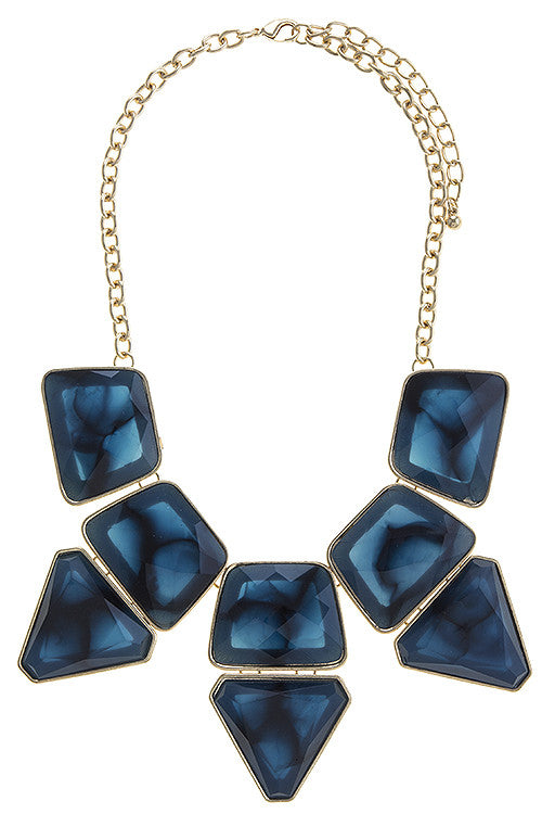 Sapphire Blue Bib Necklace and Earrings