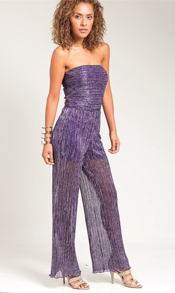 Wrapped bodice violet jumpsuit