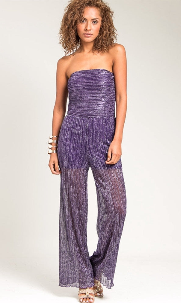 Violet Strapless textured jumpsuit