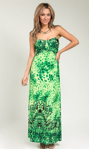 Green safari maxi dress