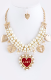 heart and love necklace and earrings
