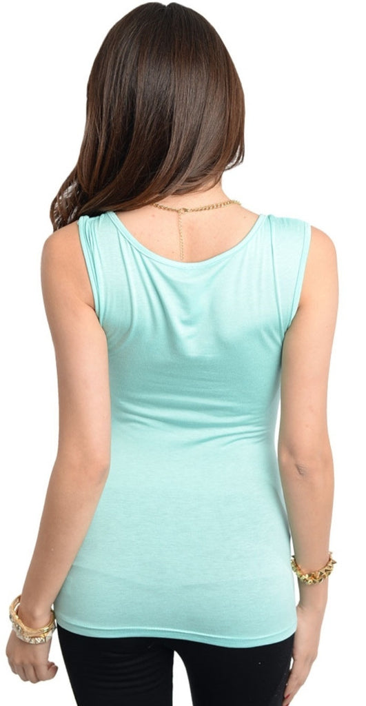 Ruched Ring Accented Waist Band Aqua Top