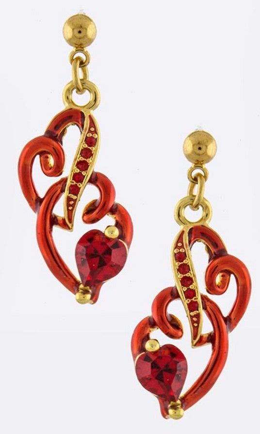 Intertwined Heart Drop Earrings